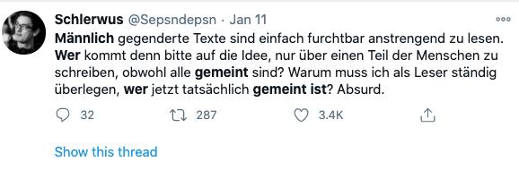 ironischer Tweet über Texte mit generischem Maskulin
